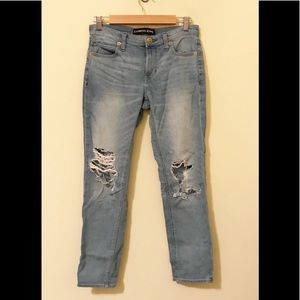 Express Destroyed Girlfriend slouch light jeans 2
